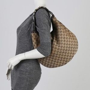 Gucci Horsebit Large Wave Canvas Hobo Bag